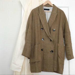 Linen blend oversized Zara summer blazer, L 🌴